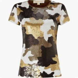 MICHAEL Michael Kors Camouflage Sequin Top